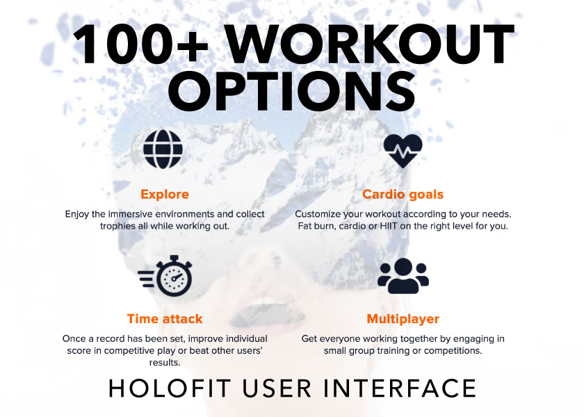 100+ workout options in the holofit interface -- Explore, Time Attack, Cardio Goals, Multiplayer